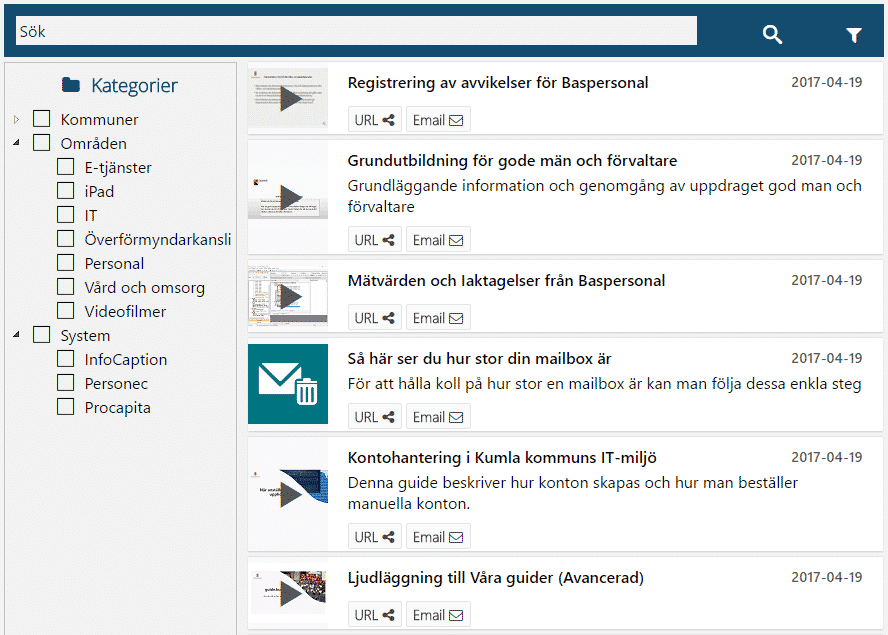 Skärmdump från kommunplattformens söksida.