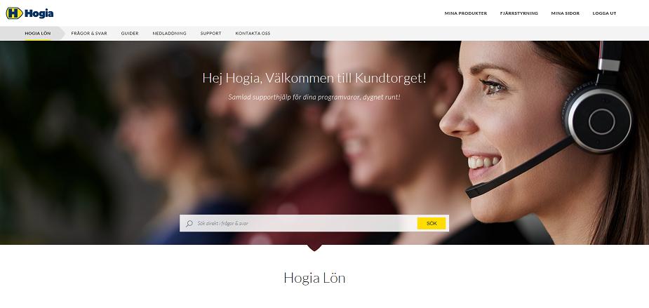 "Hogias customer portal, ""Kundtorget"" (translation: Customer plaza)."