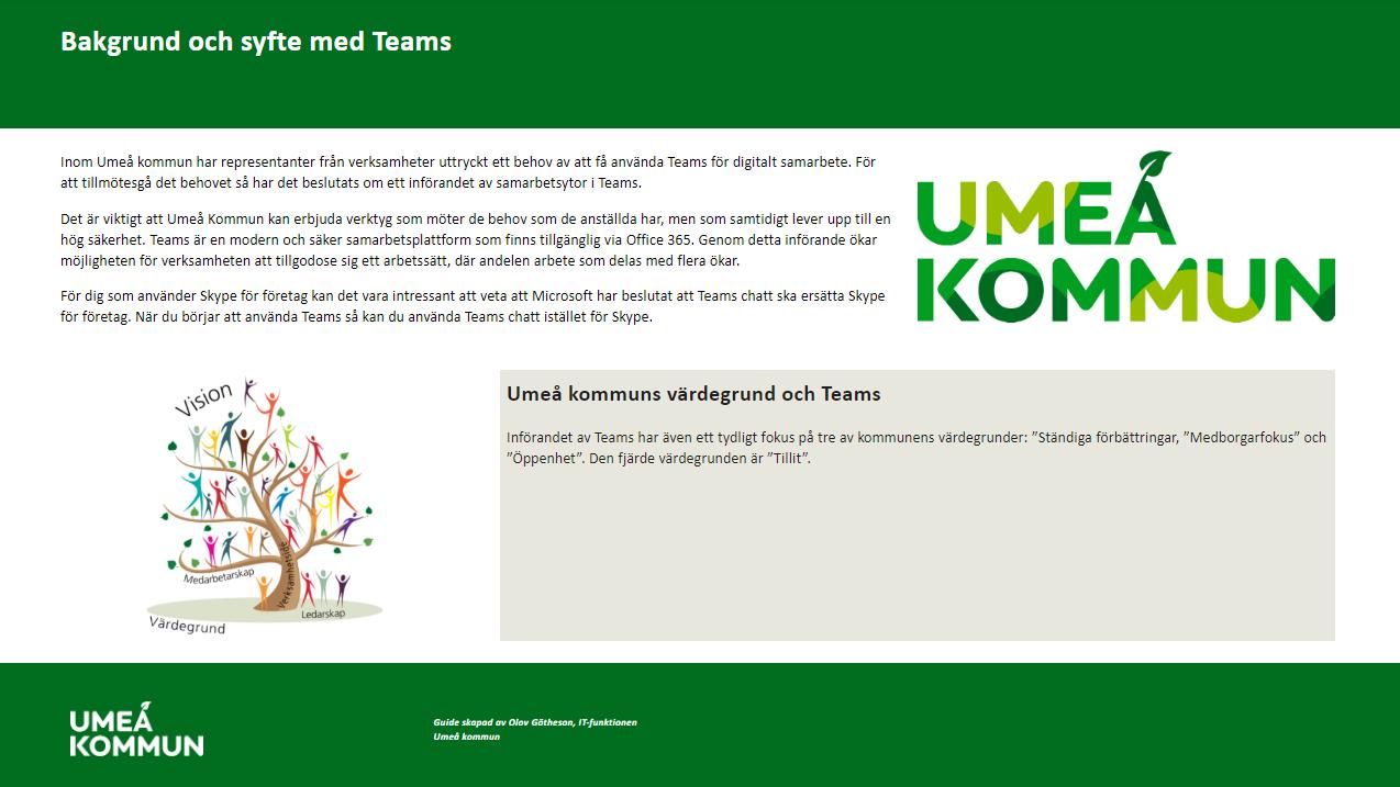 Bild från Umeås handbok om Microsoft Teams.