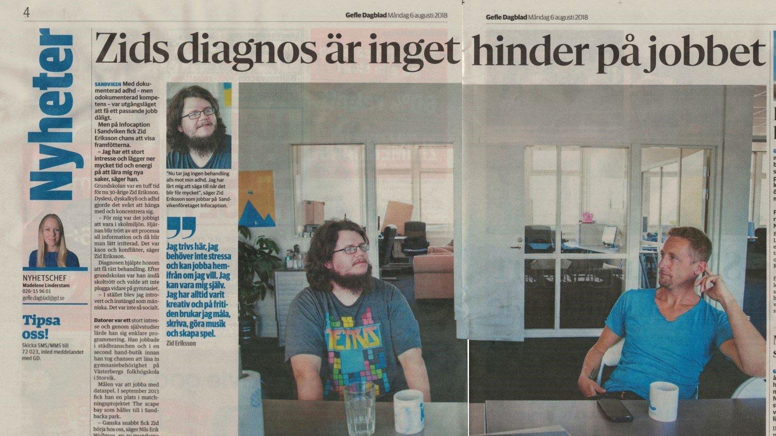 """Foto av en tidningsartikel med rubriken """"Zids diagnos är inget hinder på jobbet""""."""
