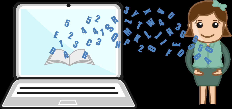 Illustration som visar en person som för över sin kunskap till en dator.