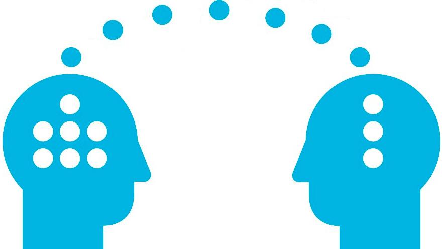 Illustration av två personer som överför tankar mellan varandra.